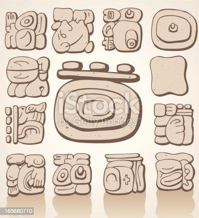 Mayan Symbols Stock Vector Art More Images Of Ancient 165680710