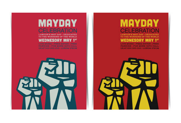 mayday celebration event poster template with clenched fists. vector illustration. - may day stock illustrations, clip art, cartoons, & icons