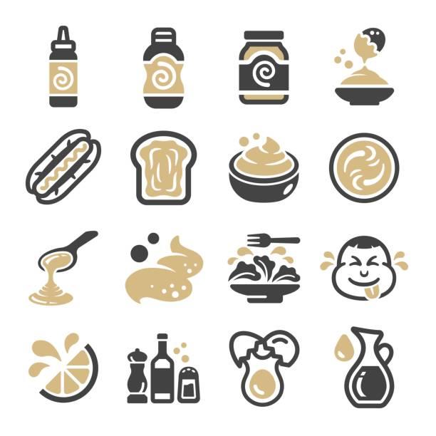 ilustraciones, imágenes clip art, dibujos animados e iconos de stock de conjunto de iconos de mayonesa - comida tailandesa