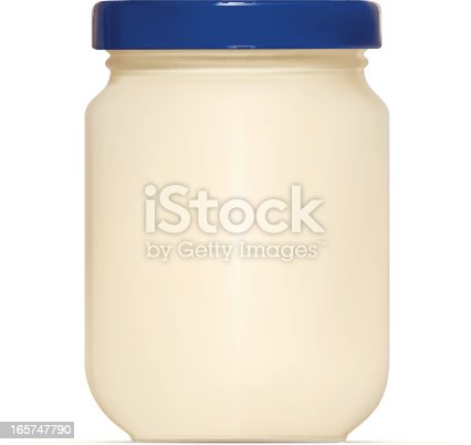 High detailed illustration of Mayonnaise Jar isolated on white background
