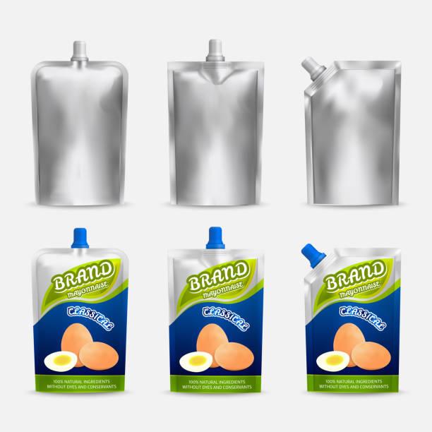 mayonnaise-paket mock-up set, realistische vektor-illustration - vakuumverpackung stock-grafiken, -clipart, -cartoons und -symbole