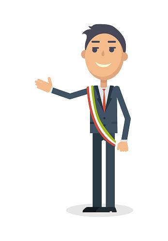 Mayor Character Flat Style Vector Illustration