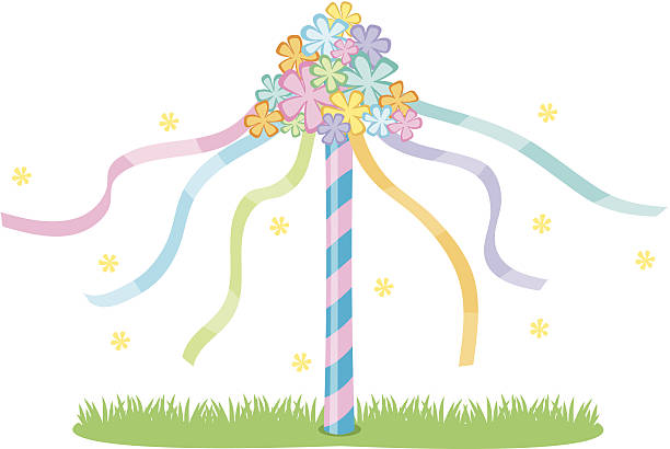 maypole c - may day stock illustrations, clip art, cartoons, & icons