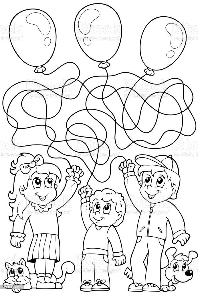 Ilustración de Maze 8 Libro Para Colorear Con Los Niños y más banco ...