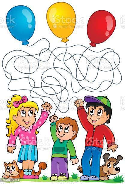 Maze 8 with children and balloons vector id505913071?b=1&k=6&m=505913071&s=612x612&h=y5iol6ehiopd91sozpch7 huena8drbjtpipn0teqei=