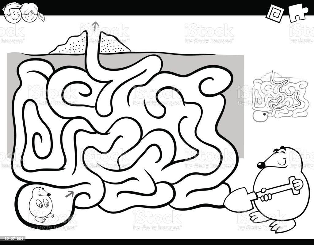 迷路活動ぬりえ本ウィットほくろ動物 お絵かきのベクターアート素材や