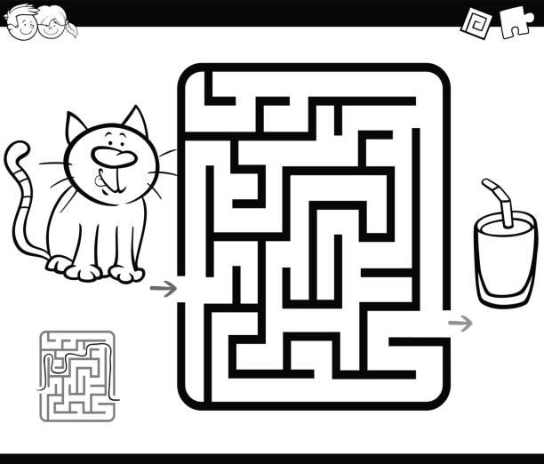 ilustraciones, imágenes clip art, dibujos animados e iconos de stock de juego de la actividad del laberinto con gato y leche - fiesta en la oficina