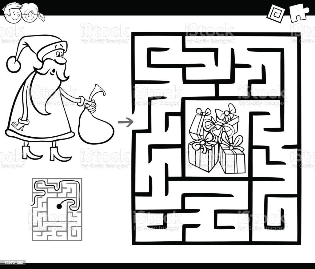 Labirent Etkinlik Oyun Noel Baba Ile Stok Vektör Sanatı Adlı