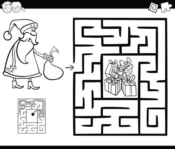 ilustraciones, imágenes clip art, dibujos animados e iconos de stock de juego de la actividad del laberinto con santa claus - fiesta en la oficina