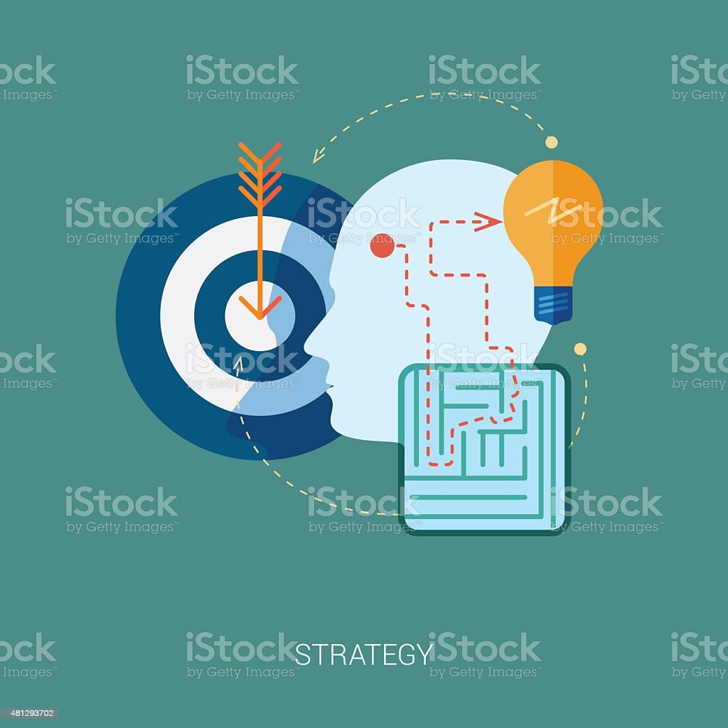 maze and problem solving flat icon concept vector art illustration
