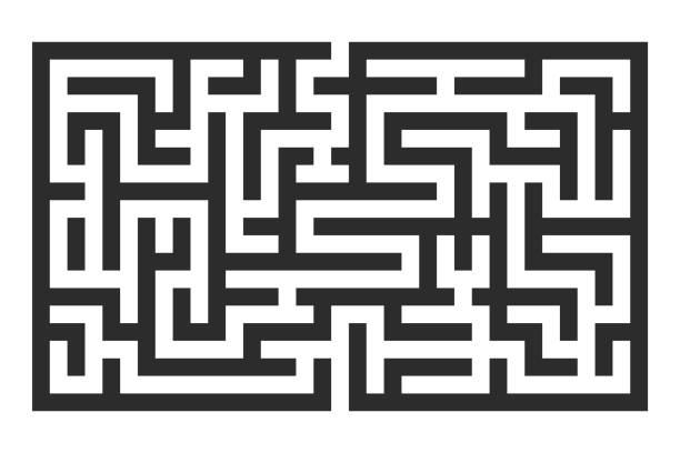 미로입니다. 검은 사각형 퍼즐 - 미로찾기 stock illustrations
