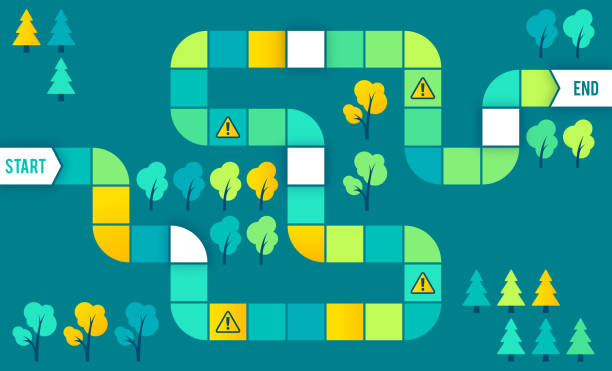 Maze Board Game Puzzle Steps Process Board game or steps maze process design idea. leisure games stock illustrations