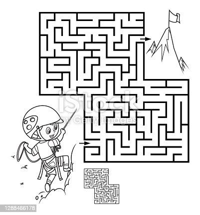 istock Maze, Boy climbing up the mountain 1288466178