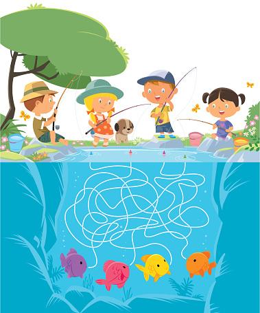 Maze Children Fishing