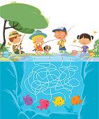 Vector Maze Children Fishing