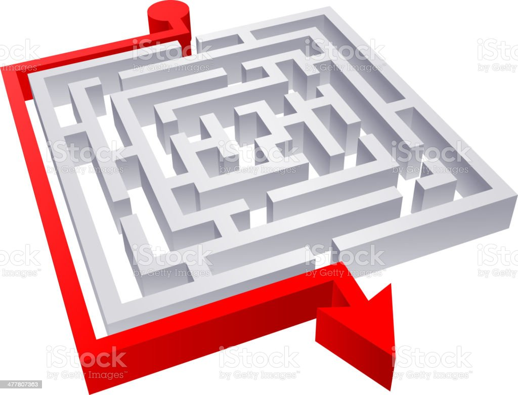 Maze clever solution vector art illustration