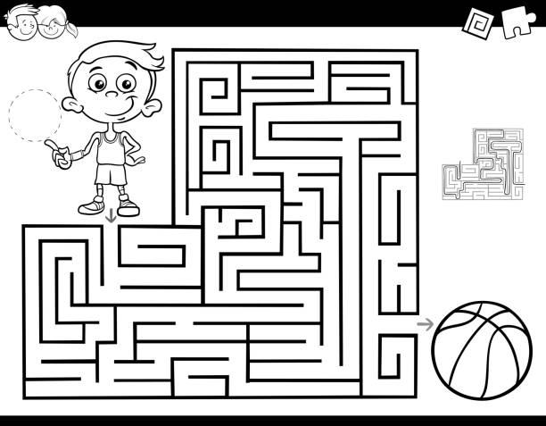 소년 농구와 미로 색상 책 - 미로찾기 stock illustrations