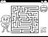 maze color book with boy and football