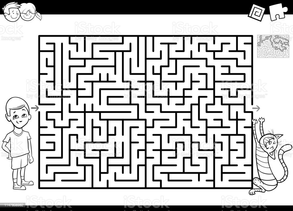 Black and White Cartoon Illustration of Educational Maze or Labyrinth...