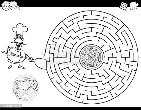 istock maze color book with chef and pizza 1084640620