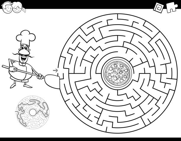 maze color book with chef and pizza - coloring book pages templates stock illustrations