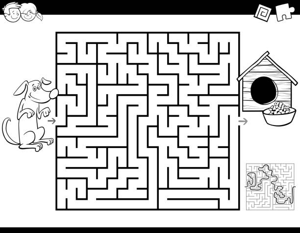 maze color book with dog and doghouse - coloring book pages templates stock illustrations