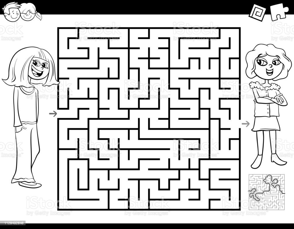 Black and White Cartoon Illustration of Education Maze or Labyrinth...