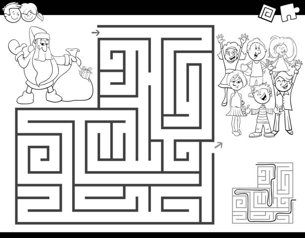 maze color book with santa claus - coloring book pages templates stock illustrations