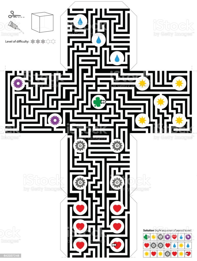 Maze Cube Template vector art illustration