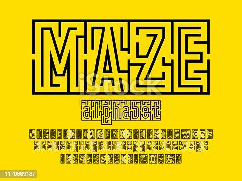 Vector of modern abstract maze style alphabet design