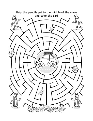 Maze game and coloring page for kids with car and pencils