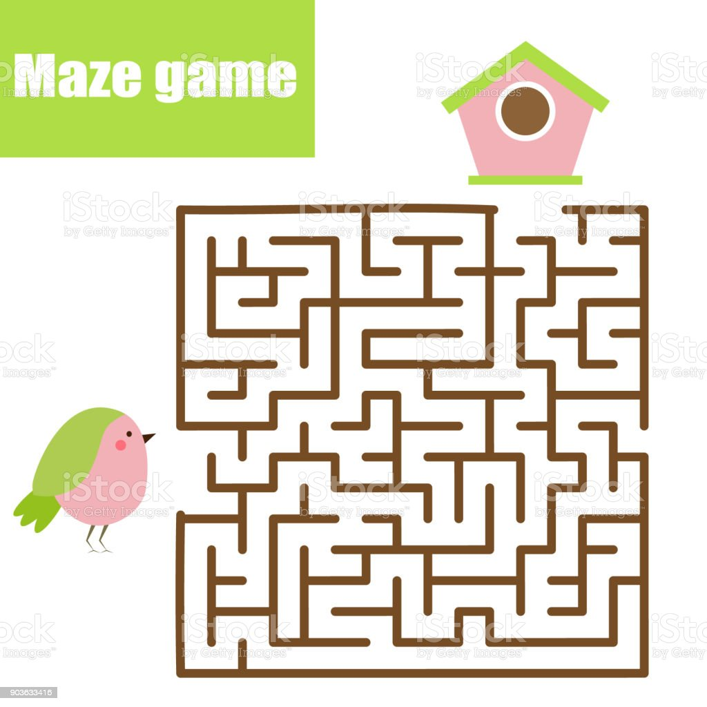 Maze Game Animals Theme Kids Activity Sheet Help Bird Find Birdhouse ...
