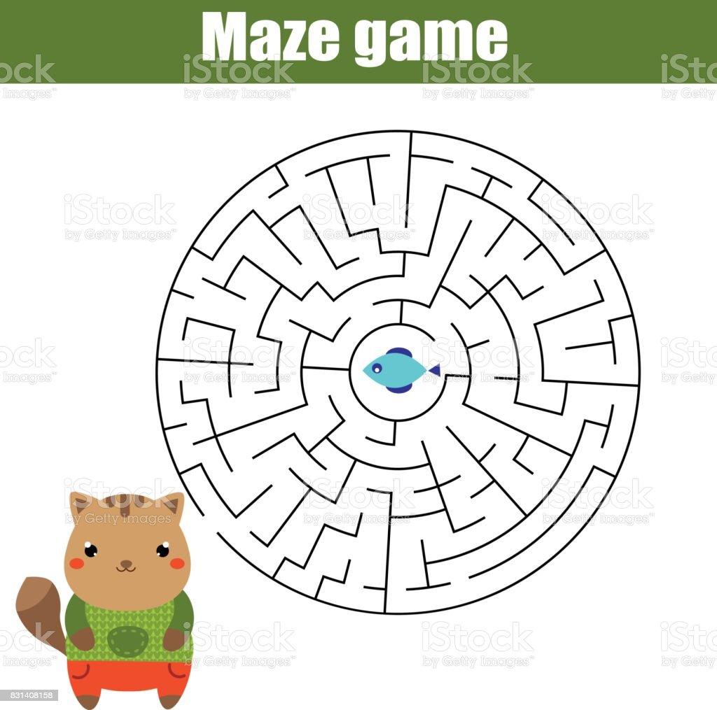 Ilustración de Maze Partido Animales Tema Hoja De Actividades Para ...