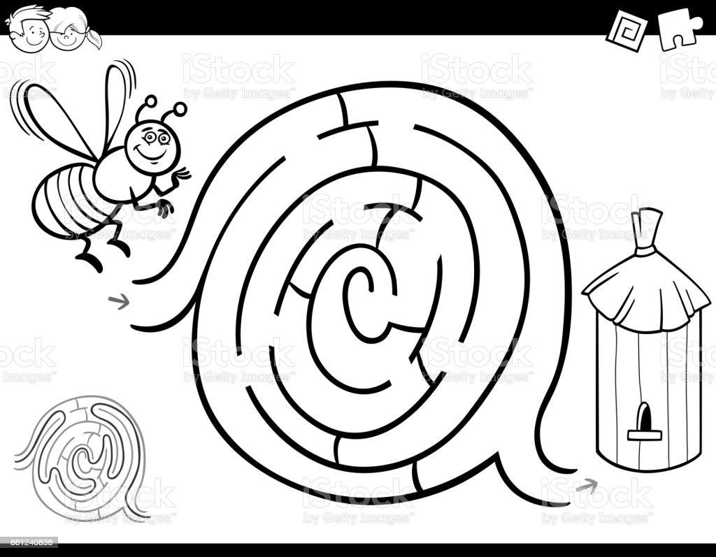 Labirent Oyun Boyama Kitabi Ari Ve Kovan Ile Stok Vektor Sanati
