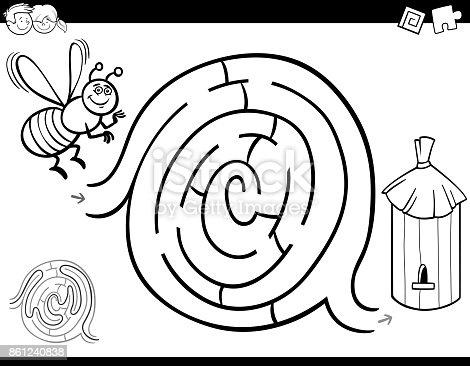 Labirent Oyun Boyama Kitabı Arı Ve Kovan Ile Stok Vektör Sanatı