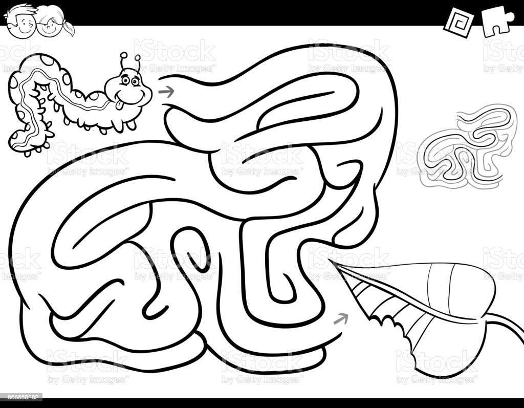 Labirent Oyun Boyama Kitabi Tirtil Ve Yaprak Ile Stok Vektor