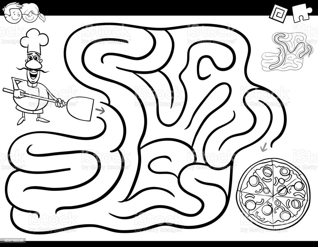 Maze Black And White Book Cartoon Characters Game Coloring