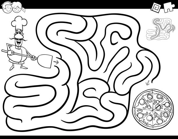 maze game coloring book with chef and pizza - coloring book pages templates stock illustrations