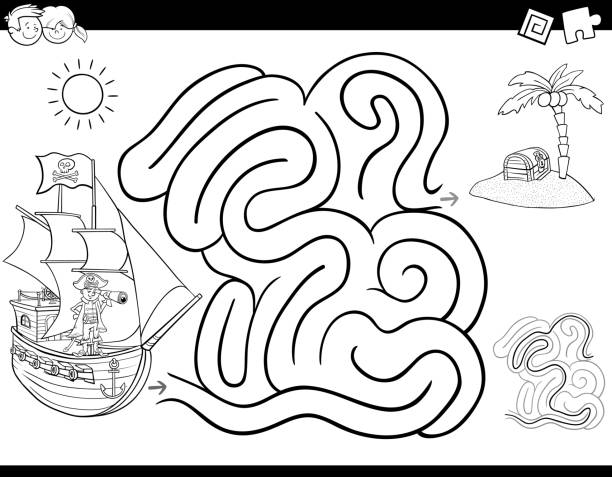 Vectores de Barco Pirata De Historieta Libro Para Colorear y ...