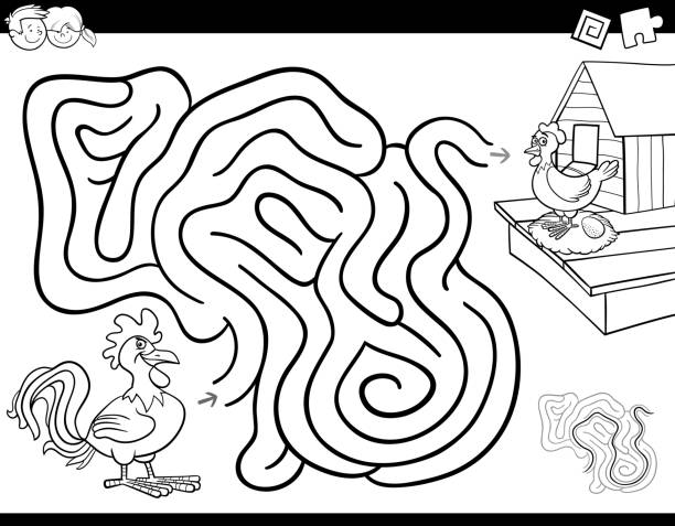 maze game coloring book with rooster and hen - coloring book pages templates stock illustrations