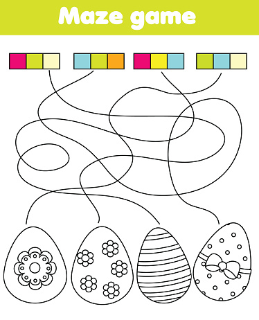 Maze game for children. Connect colors and eggs. Easter Coloring page for kids and toddlers