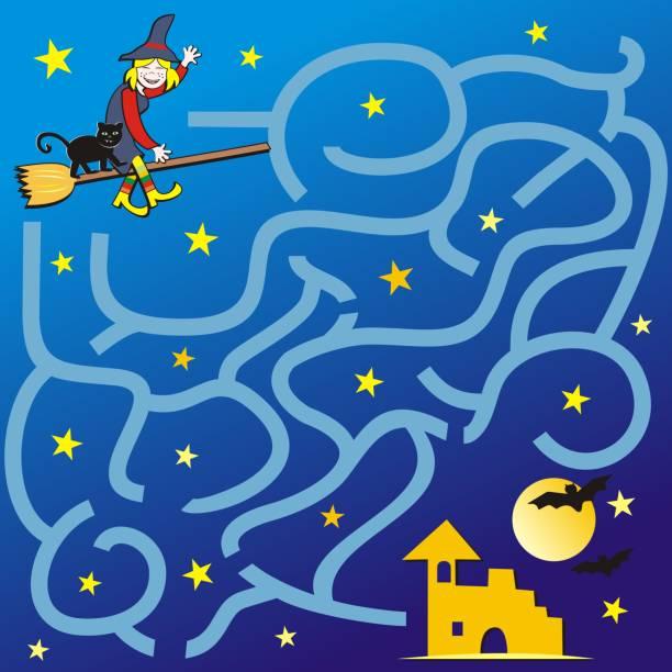 illustrations, cliparts, dessins animés et icônes de labyrinthe, jeu pour les enfants, halloween - cage animal nuit