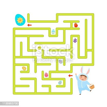 Maze game for children. Help the bunny collect all the Easter eggs.