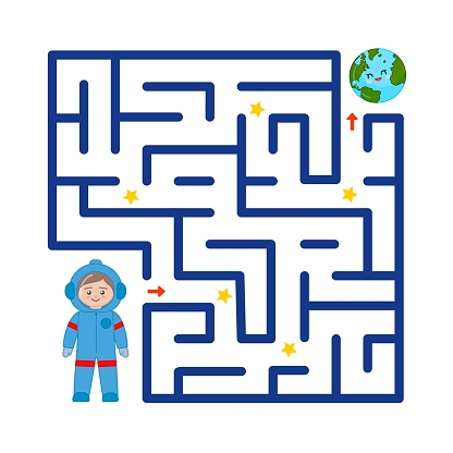 Maze game for children. Help the astronaut to get to Earth.