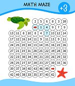 Maze game for children. Material for  learning mathematics. Cartoon cute turtle and starfish.