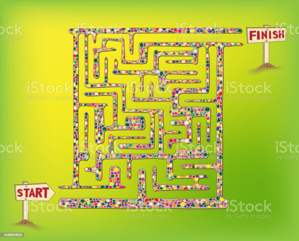 Maze Game For Kids And Adults Get From Start To Finish Through The