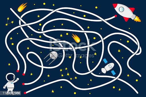 Maze game for kids. Help the astronaut find the right way to the rocket. Open space with stars, satellite. Vector illustration.