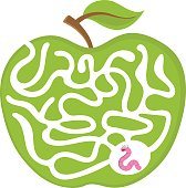 Cartoon maze game for kids Num.04 Worm with apple labyrinth vector puzzle illustration