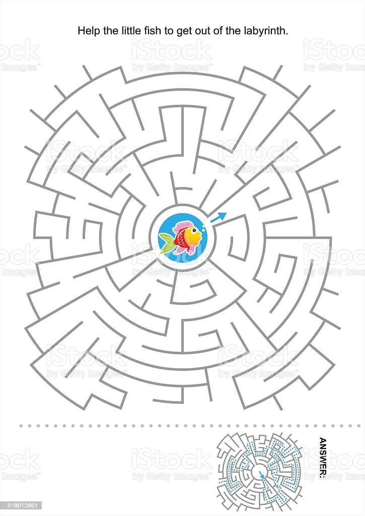 Maze game for kids with little fish vector art illustration
