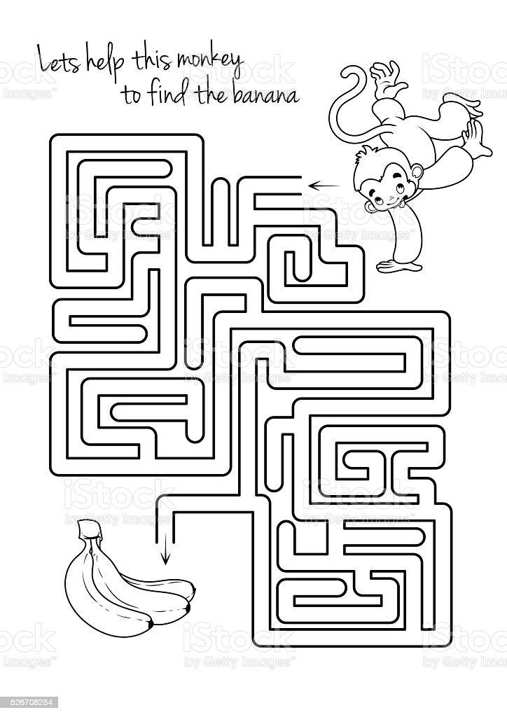 Ilustración de Laberinto De Juegos Para Niños Con Monos Y De Plátano ...